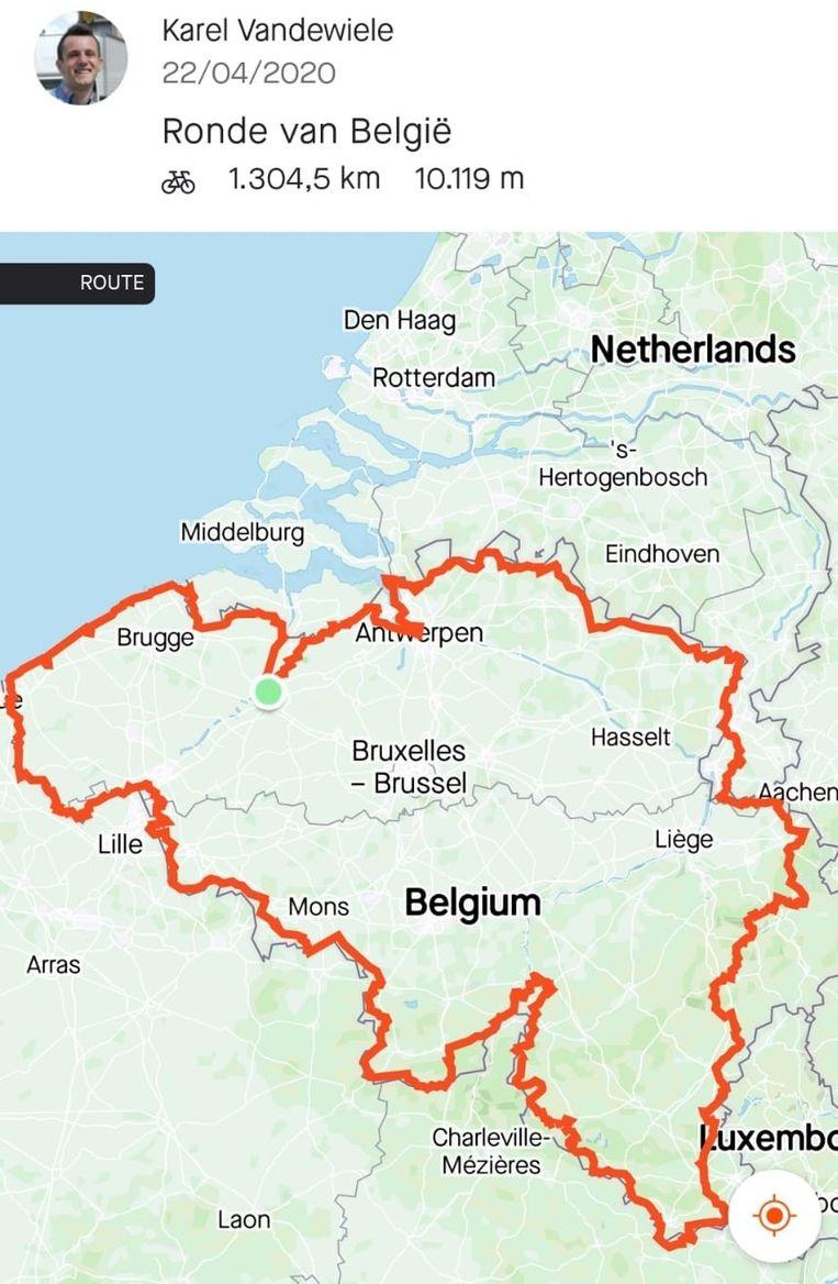 Het traject van de Ronde van België.