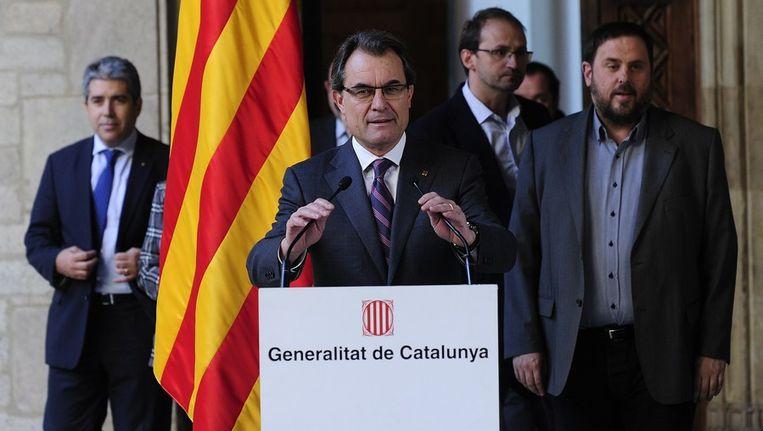 Artur Mas gaf vandaag een persconferentie om het referendum aan te kondigen. Beeld afp