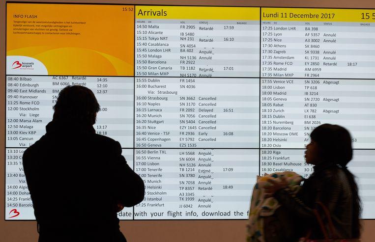Op Brussels Airport zijn gisteren zowat 300 vluchten geannuleerd.
