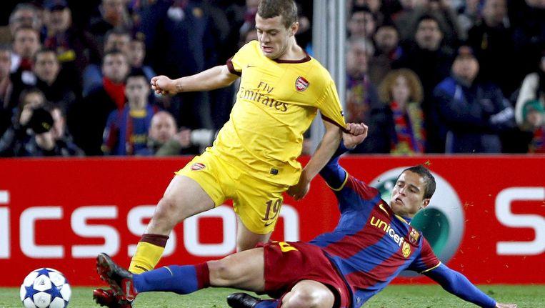 De laatste ontmoeting tussen FC Barcelona en Arsenal eindigde in 3-1 voor de Spanjaarden. Links: Jack Wilshere, rechts: Ibrahim Afellay Beeld epa