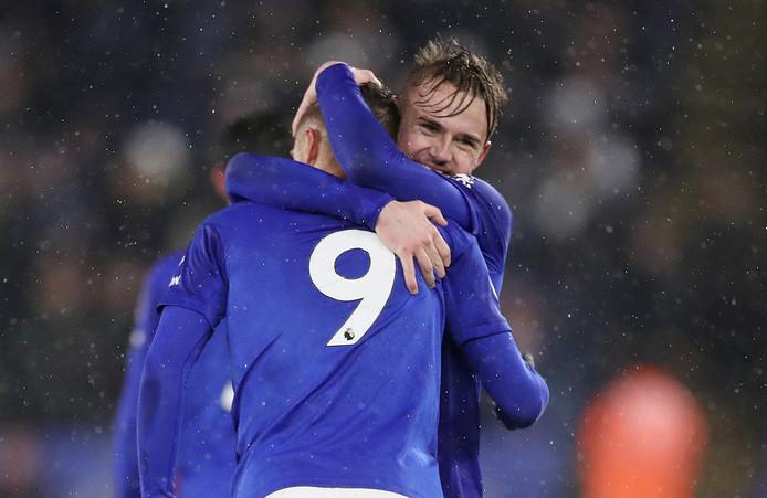 James Maddison en Jamie Vardy van Leicester City.