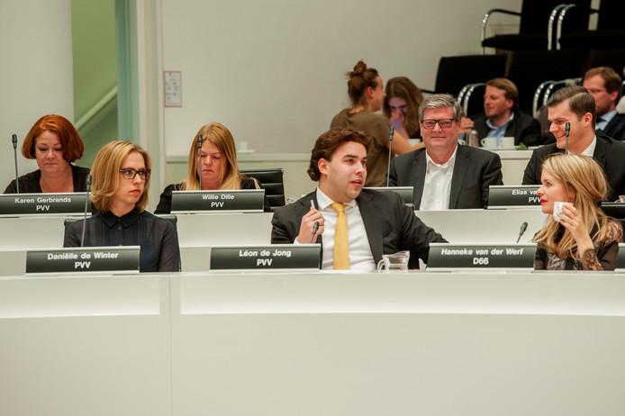 De PVV-fractie in de gemeenteraad van Den Haag. Léon de Jong is inmiddels vertrokken naar de Tweede Kamer.