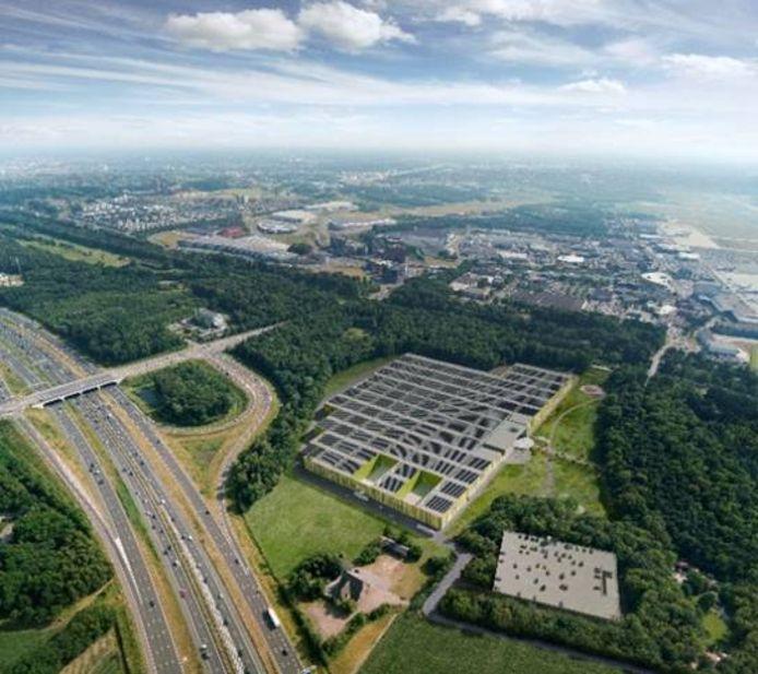 Brainport Industries Campus tussen N2/A2 en Beatrixkanaal in Eindhoven. Met op de achtergrond Eindhoven Airport. Foto SDK Vastgoed BV