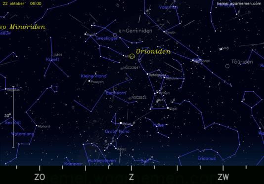 De Orioniden danken hun naam aan het feit dat ze ogenschijnlijk uit het sterrenbeeld Orion vallen.