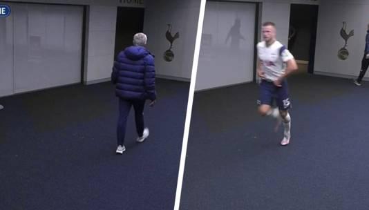 Mourinho en Dier in de tunnel.