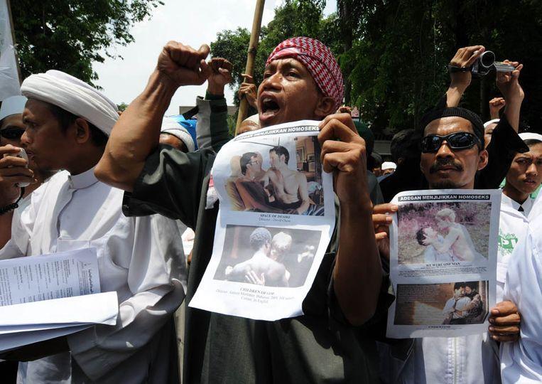 Het protest bij het Erasmushuis in Jakarta. (AFP) Beeld AFP