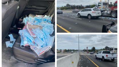 Onbekende gooit dozen vol mondmaskers op snelweg, automobilisten stoppen meteen om ze op te rapen
