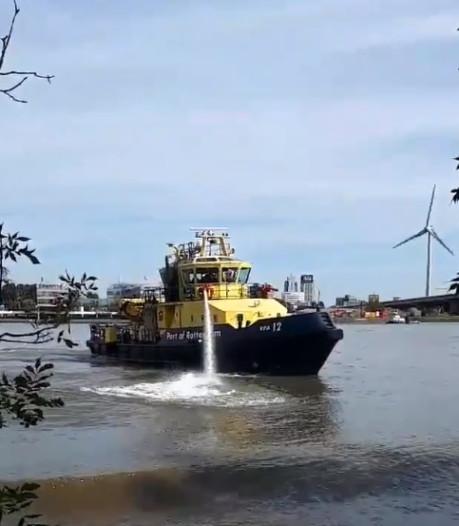 Blusboot in actie voor bermbrand Eiland van Brienenoord