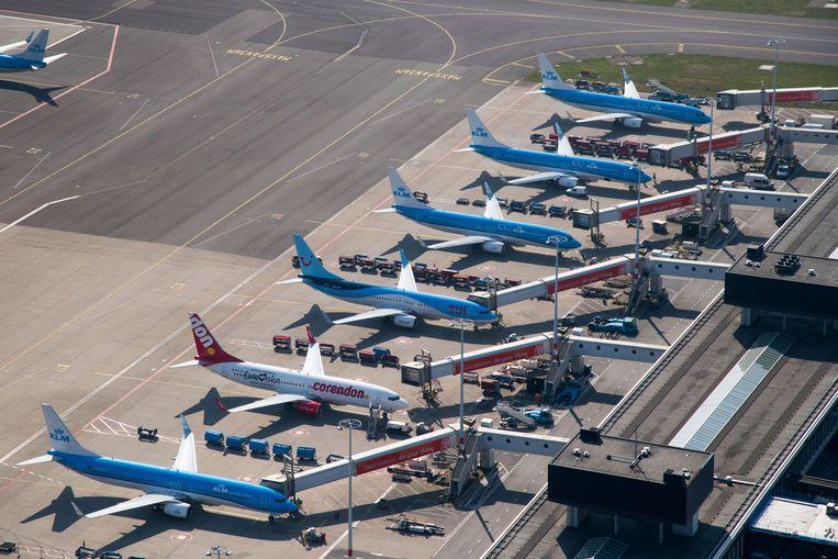 Door de coronacrisis is er wereldwijd weinig vliegverkeer. Beeld ANP
