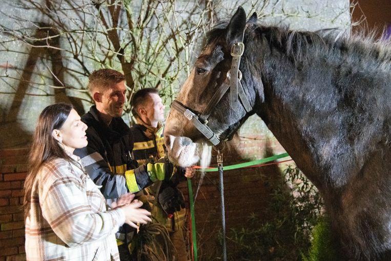 Ook de brandweerlieden waren zichtbaar opgetogen dat ze het leven van Clyde konden redden