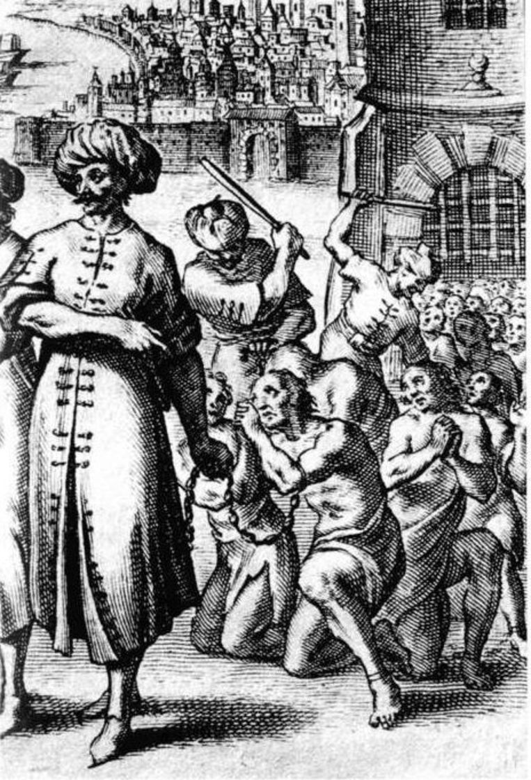 Wanhopige slaven Beeld Pierre Dan. Histoire de Barbarie et de ses corsaires. Parijs, 1649