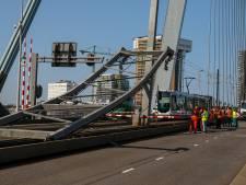 Trams pas donderdag weer over Erasmusbrug; noodoplossing voor scheepvaart