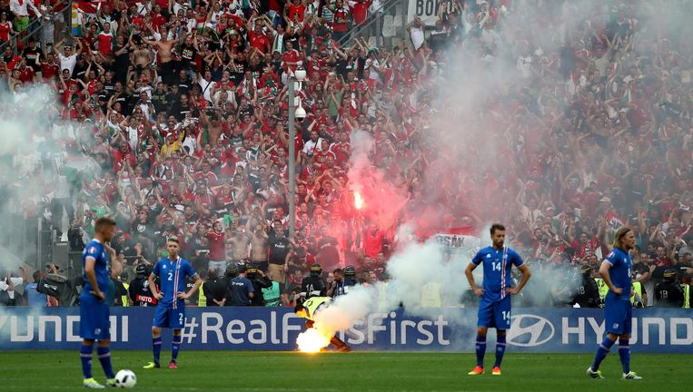 Zaterdag, tijdens de wedstrijd IJsland - Hongarije in Marseille. Beeld EPA