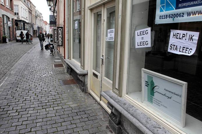 Leegstand in de binnenstad van Bergen op Zoom.