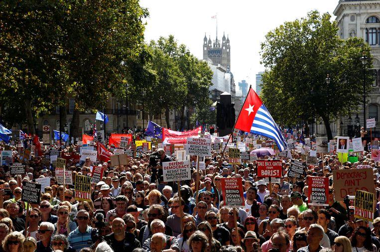 De straten rond Downing Street in Londen stromen vol met anti-brexitdemonstranten.
