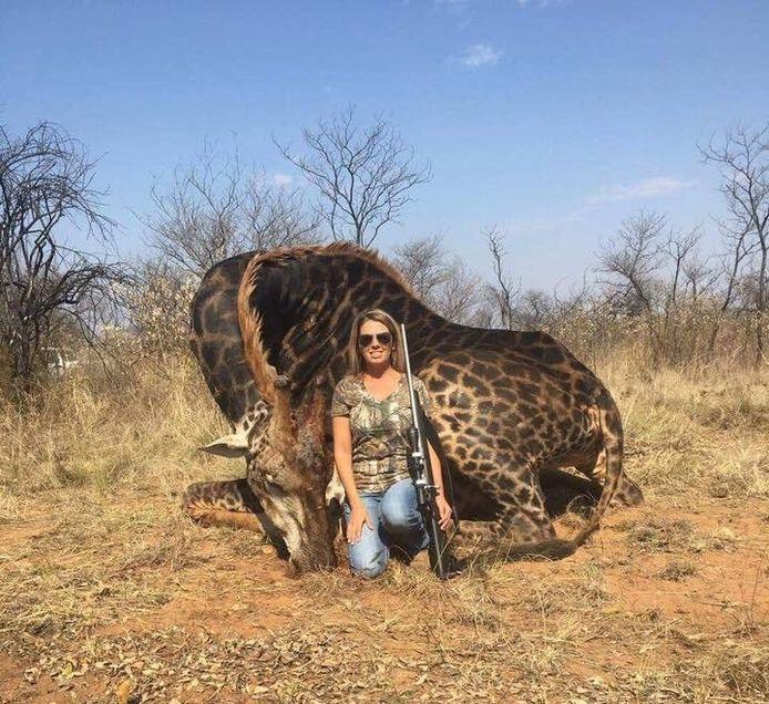 De vrouw poseert trots voor de dode giraf