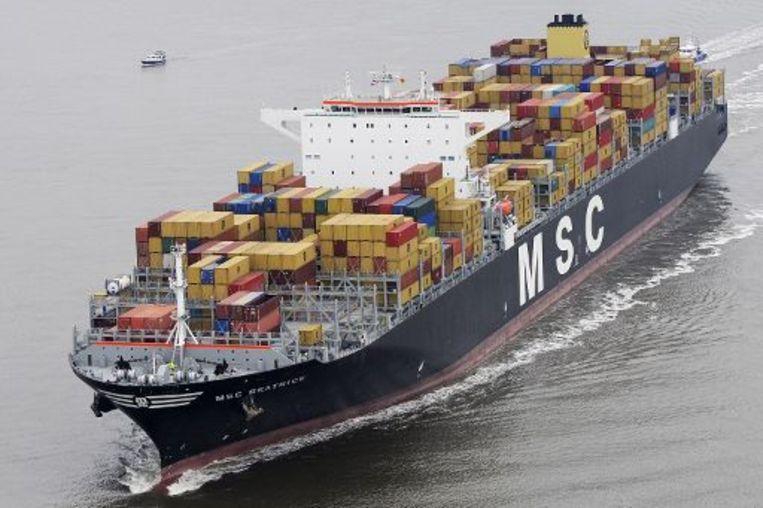 Het reuzecontainerschip MSC Beatrice deed twee weken geleden de Antwerpse haven aan.
