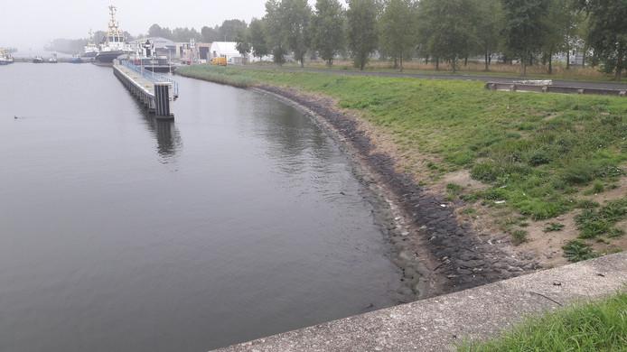 Aan het talud van het Kanaal Gent-Terneuzen bij de Terneuzense Westsluis is te zien hoe laag het waterpeil in het Kanaal staat.