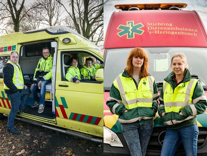 De vrijwilligers van de Dierenambulance Brabant Noord-Oost (links) en Dierenambulance Den Bosch (rechts) zijn beide actief in de regio Den Bosch. Dat geeft nog wel eens onduidelijkheid.