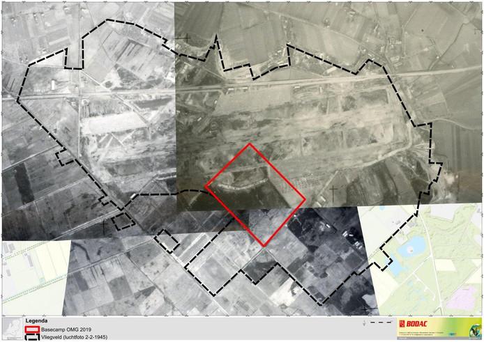 Op deze luchtfoto van Bodac is te zien waar in Schijndel het tijdelijke vliegveld zich bevond aan het einde van de Tweede Wereldoorlog.