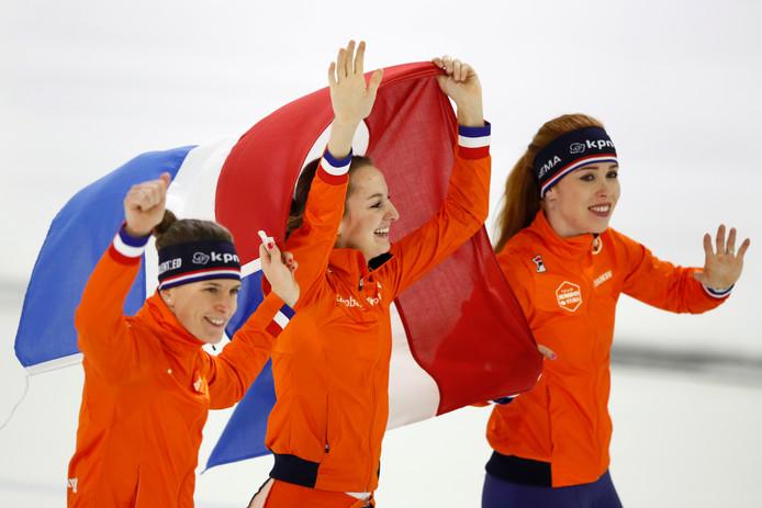 Goud voor de Nederlandse vrouwen op de ploegenachtervolging!