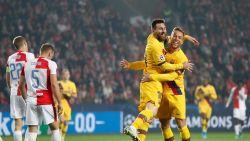 Barcelona wint nipt op het veld van Slavia Praag, nieuwe mijlpaal voor Messi