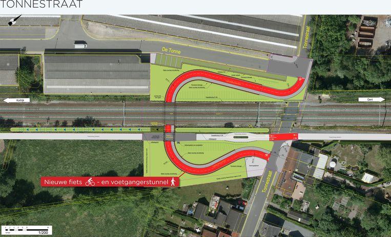De overweg in de Tonnestraat maakt plaats voor een fietstunnel.