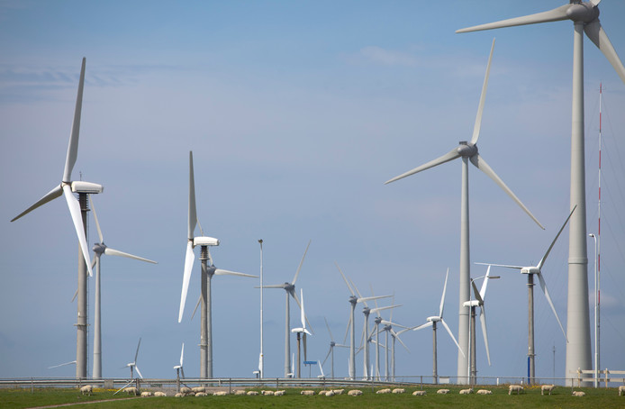 Voorbeeld van een windmolenpark