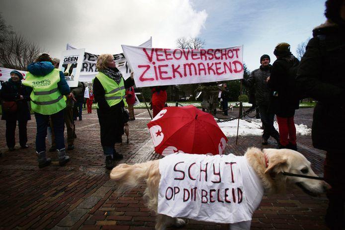 Milieugroepen protesteren in Sint Michielsgestel tegen megastallen.