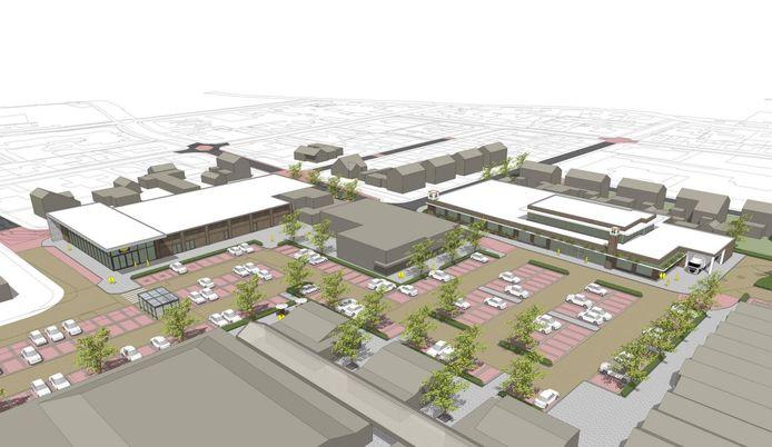 Links op de tekening de nieuwbouw van de Lidl en rechts de uitbreiding van de Plus aan het Meidoornplein in Wezep.