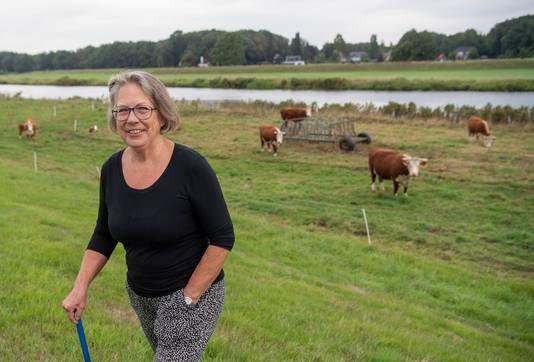 Marianne Simons met haar koeien in het weiland aan de Vecht.