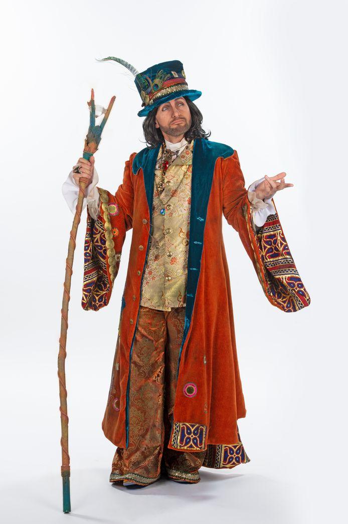 Gene Thomas als 'Gekke Tovenaar'.