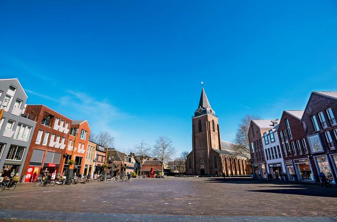 De lege en stille binnenstad van Woerden.