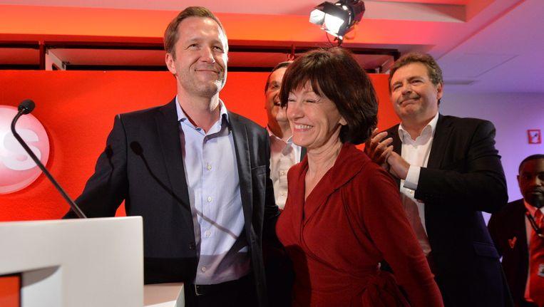 Partijvoorzitter Paul Magnette en Laurette Onkelinx