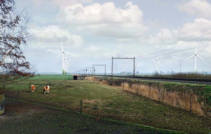 Impressie windmolens Tolhuislanden Illustratie gemeente Dalfsen