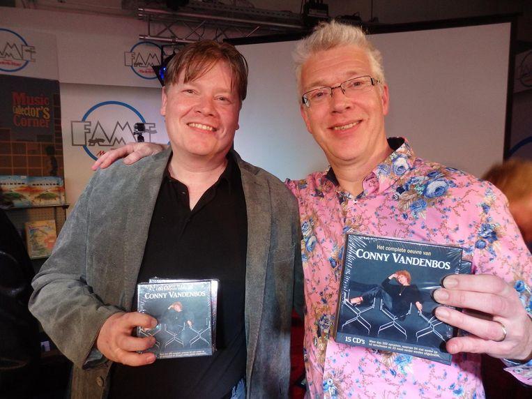 De initiators Marc Bijlsma (l) en Rob Janssen geven de box in eigen beheer uit. Bijlsma: 'Conny zingt alsof ze tegen je praat. Heel intiem is dat' Beeld Schuim