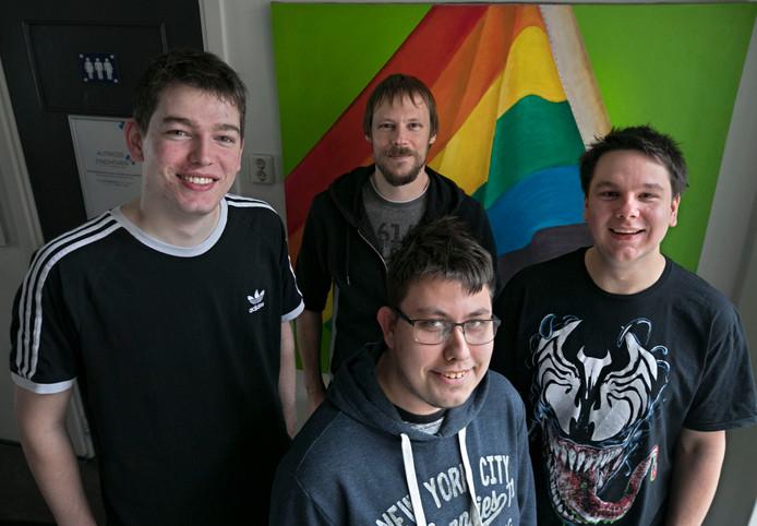 Bjorn Keeris, Vincent Koedam (achter), Bas de Wit (midden voor) en Oscar Wouterse.