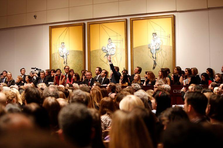 Francis Bacons 'Three Portaits of Lucian Freud' was tot vannacht het duurst geveilde schilderwerk ooit.