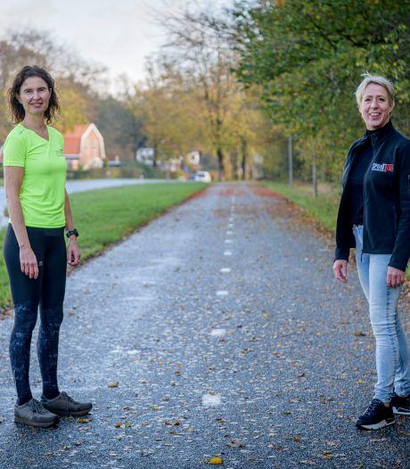 Sport Time Oldenzaal improviseert met tijdelijke atletiekbaan op fietspad naar De Lutte