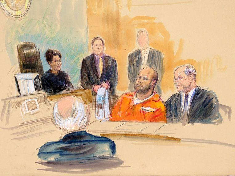 Een rechtbanktekening van Omar Gonzalez. Beeld null