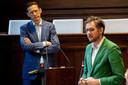 Joost Eerdmans (links) tijdens een debat in de Rotterdamse gemeenteraad. Eerdmans was tot twee keer toe lijsttrekker voor Leefbaar Rotterdam. Nu is hij ingestapt bij Forum voor Democratie en ambieert hij een Kamerzetel.
