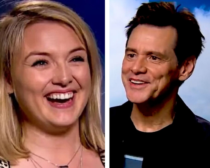 La journaliste Charlotte Long et l'acteur Jim Carrey.