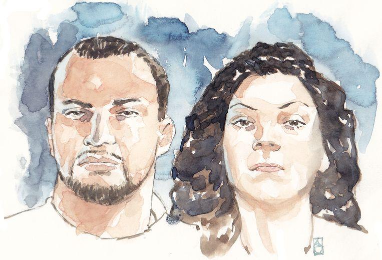 Tekening van Antonios Marcos van der P. en Enise B. Ze worden ook wel 'Bonnie en Clyde' genoemd naar het legendarische gangsterduo. Beeld anp