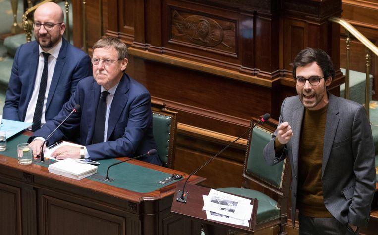 Archiefbeeld. Premier Charles Michel, Kamervoorzitter Siegfried Bracke (N-VA) en Kristof Calvo (Groen).