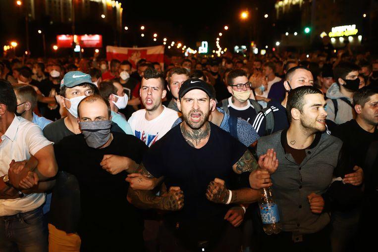 Demonstranten in Minsk. Beeld AP