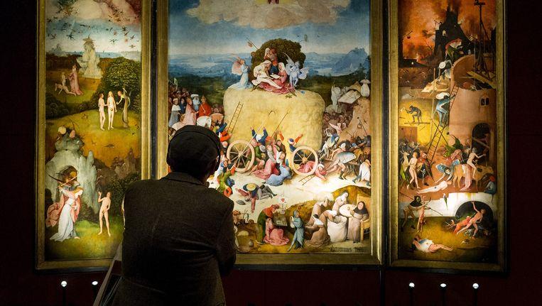 Een bezoeker bekijkt De Hooiwagen tijdens de expositie in Het Noordbrabants Museum. Beeld anp