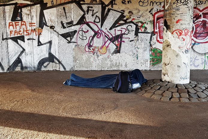 Een dakloze in Nijmegen.