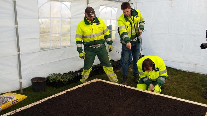 Het team van de Zuidhoek op weg naar de eerste plaats in de categorie Groenvoorziening.