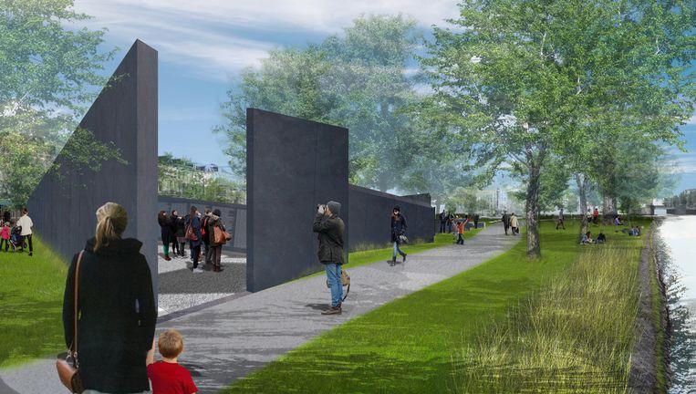 Impressie van het namenmonument zoals architect Libeskind dat had ontworpen voor het Wertheimpark. Hiertegen kwam protest. Beeld