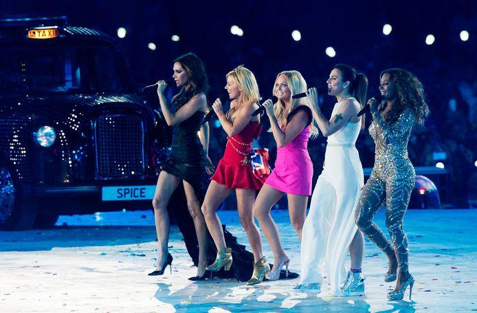 De Spice Girls treden op tijdens de sluitingsceremonie van de Olympische Spelen Londen 2012.